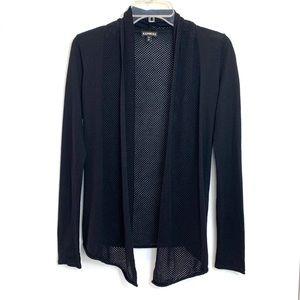 Express Black Net Mesh Ribbed Cardigan Sweater